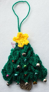 Crocodile stitch Christmas tree doorknob hanger