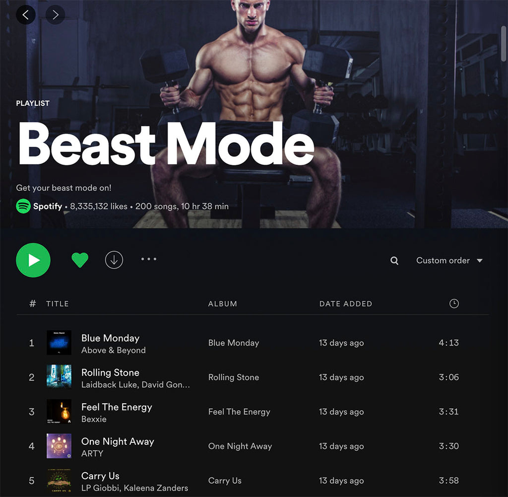 Spotify Beast Mode Playlist for workout music