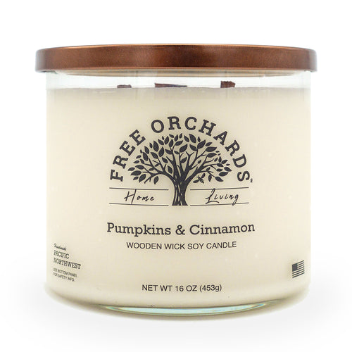 16 oz - Pumpkins & Cinnamon - Triple Wooden Wick Soy Candle