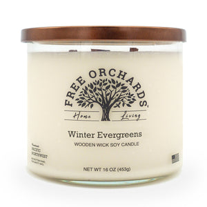 16 oz - Winter Evergreens - Triple Wooden Wick Soy Candle