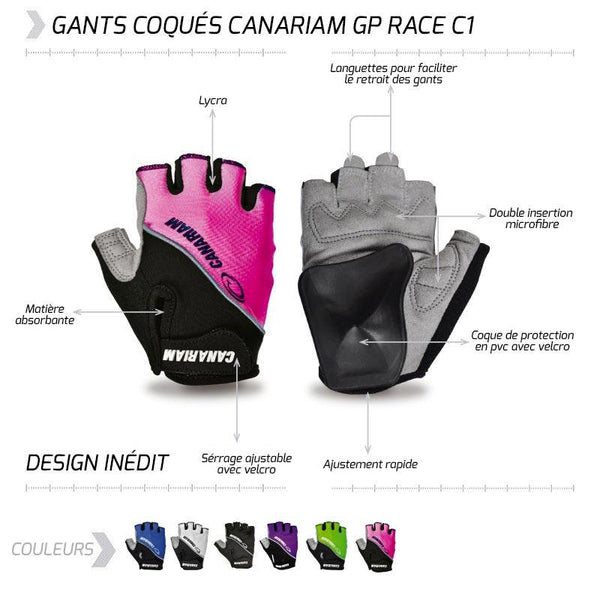 GANTS COQUÉS CANARIAM GP RACE C1      /    6 COULEURS - Montreal Internationnal Sports