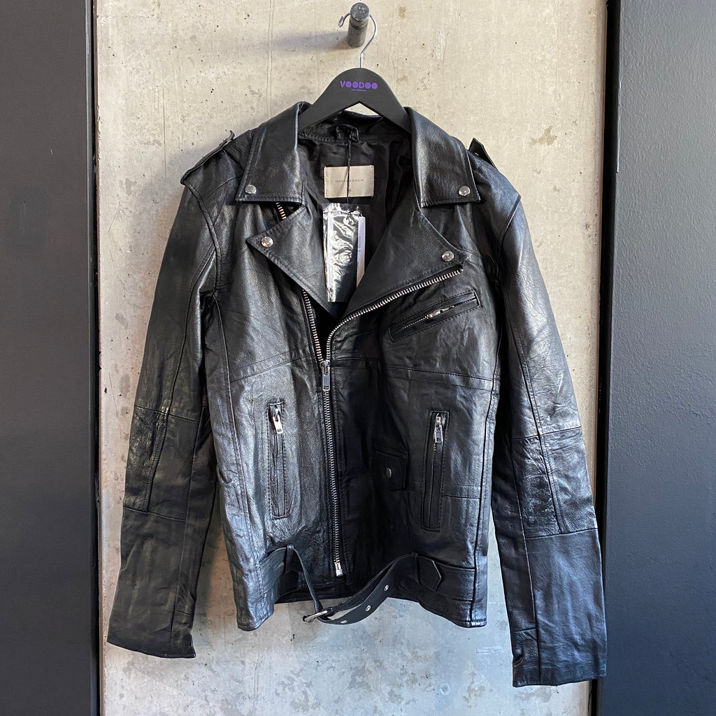 Recycled Leather Printed Biker Jacket