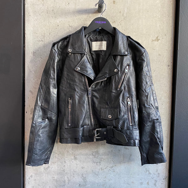 Recycled Leather Crop Biker Jacket