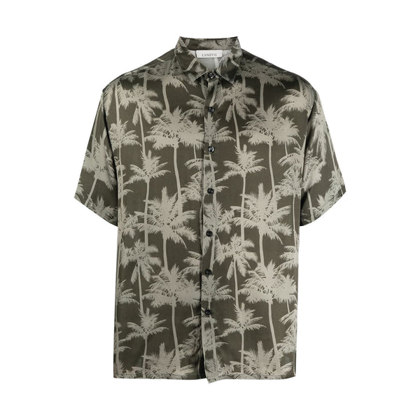 Short Sleeve Silk Palm Shirt