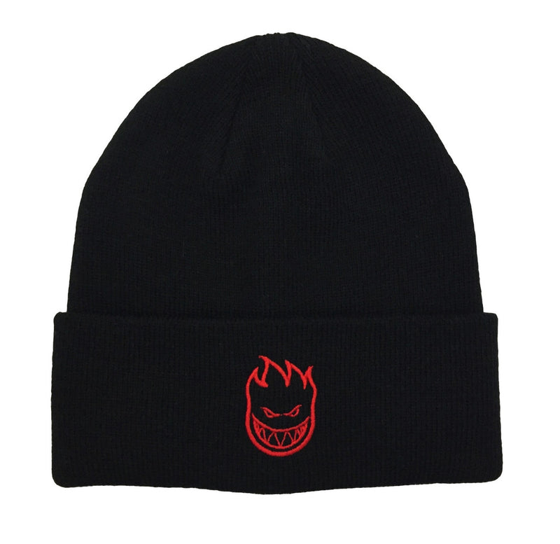Spitfire Embroidered Bighead Logo Cuff Beanie - Black/Red