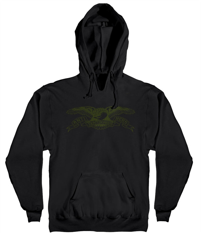 Antihero Basic Eagle Pullover Hoodie - Black/Army Green