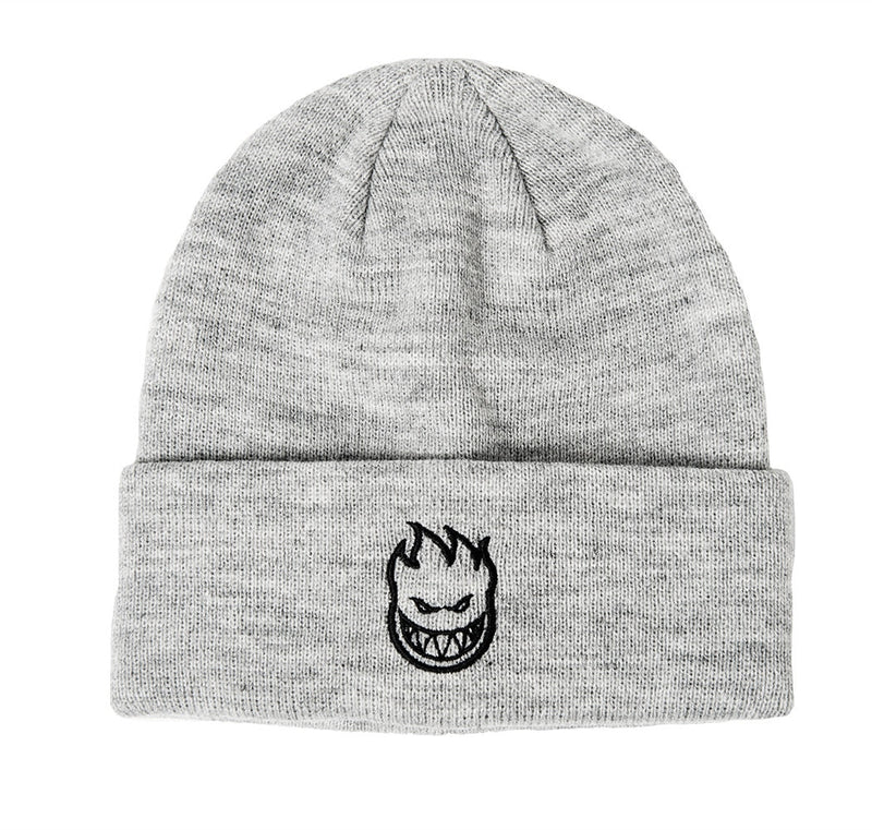 Spitfire Embroidered Bighead Logo Cuff Beanie - Grey/Black