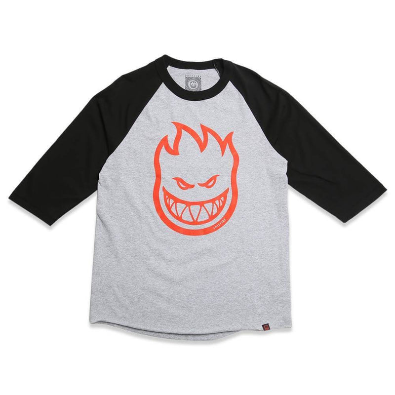 Spitfire 3/4 Sleeve Bighead Baseball Tee - Heather Grey/Black/Red