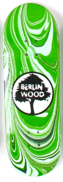 BerlinWood Logo Swirl FingerBoard Deck Wide Low 32mm - Green
