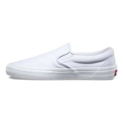 Vans Slip On Pro Skate Shoes - White/White