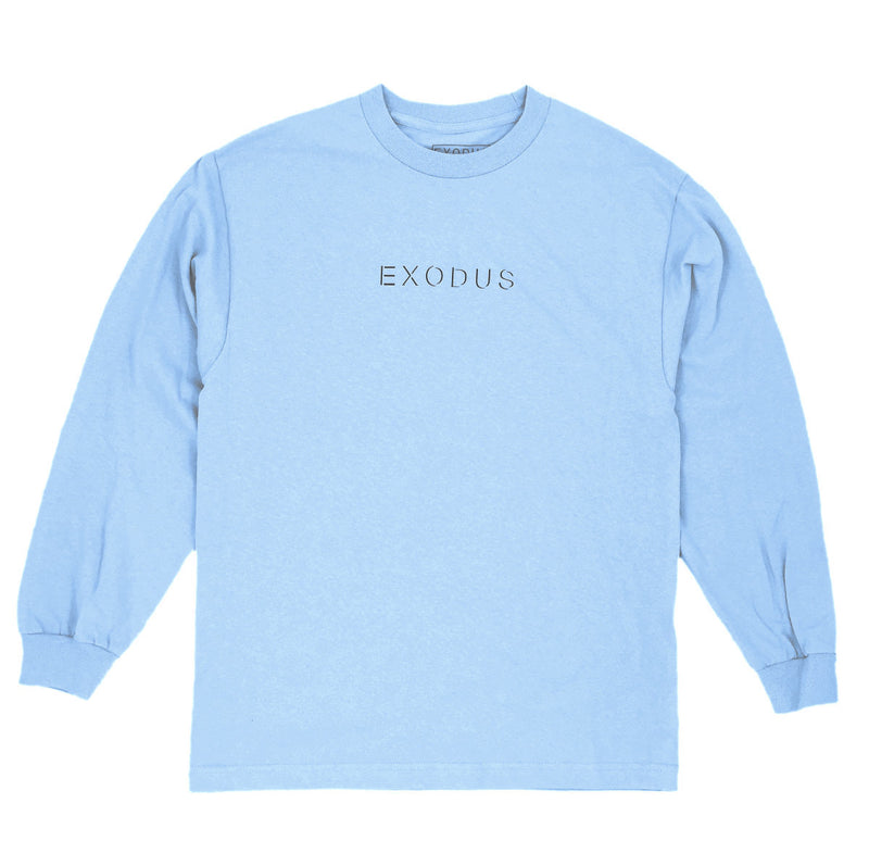Exodus Offset Center Print Long Sleeve Tee - Powder Blue