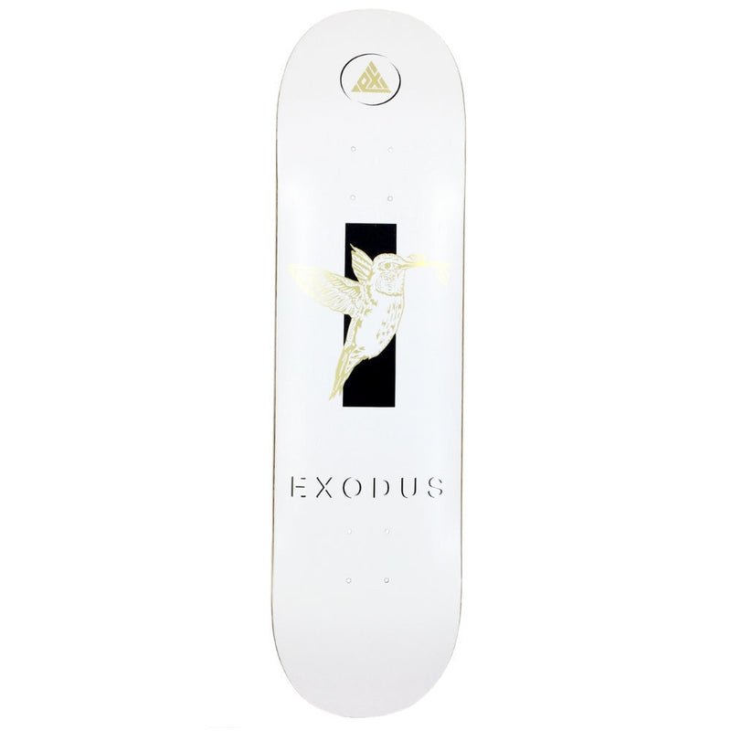 Exodus Anoixi Foil Bird Skateboard Deck - White/Gold