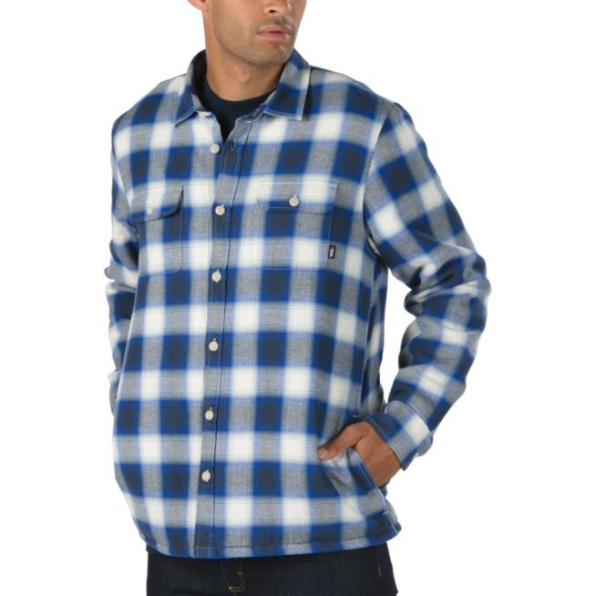 Vans Loomis Flannel Sherpa Shirt - Natural/Dress Blues