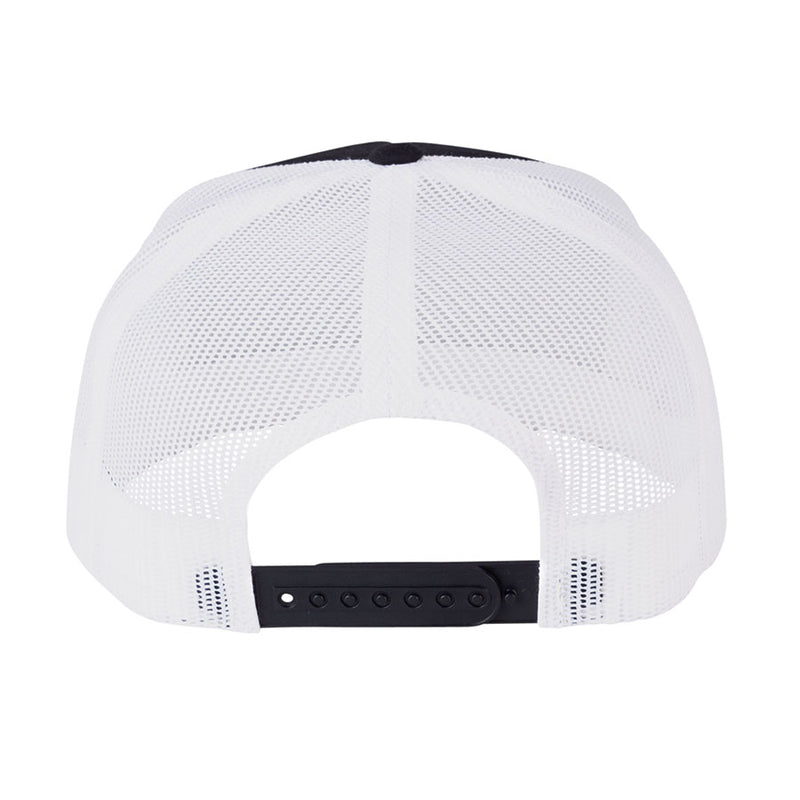 Black and White High Profile Independent Converge Mesh Trucker Hat Back