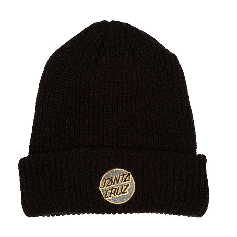 Black Missing Dot Santa Cruz Ribbed Beanie