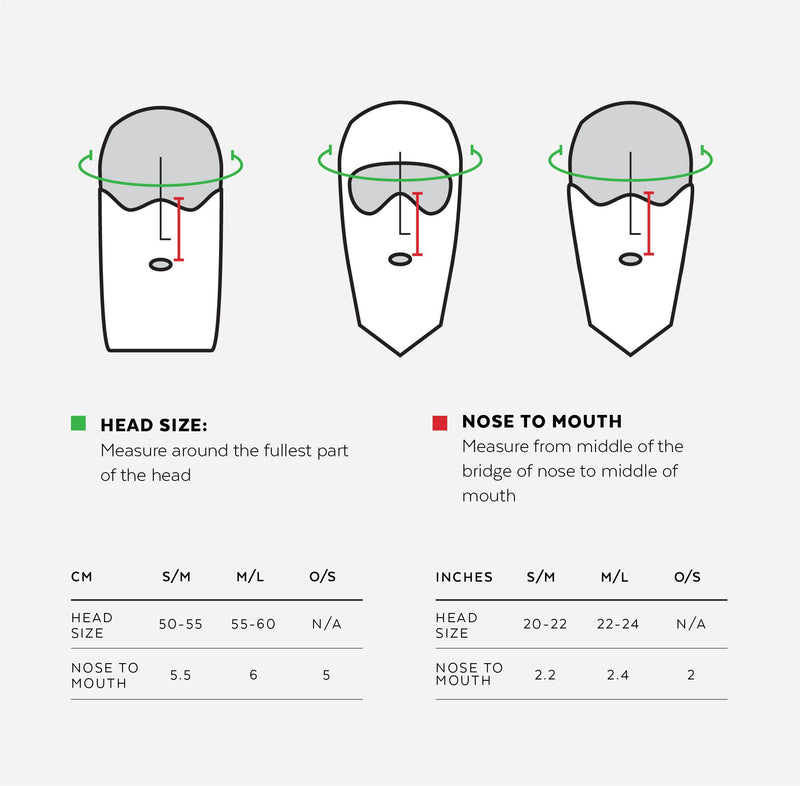 Airhole Face Mask Size Chart