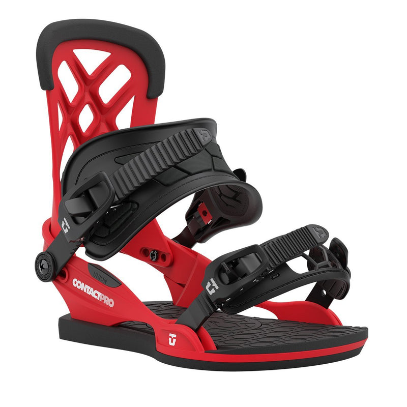 Red 2021 Union Contact Pro Snowboard Bindings Front