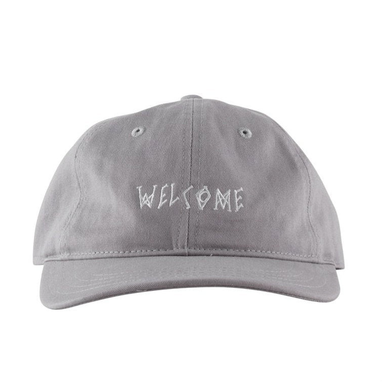 Welcome Scrawl Unstructured 6 Panel Strapback Hat - Grey