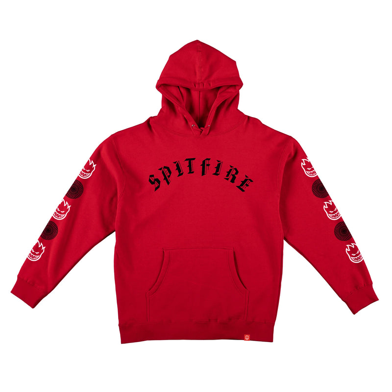 Red/White Old English Combo Sleeve Print Spitfire Hoodie
