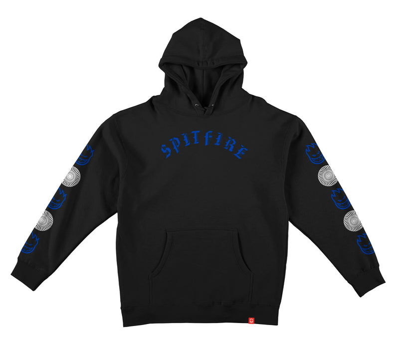 black/blue Youth Old E Sleeve Combo Spitfire Hoodie