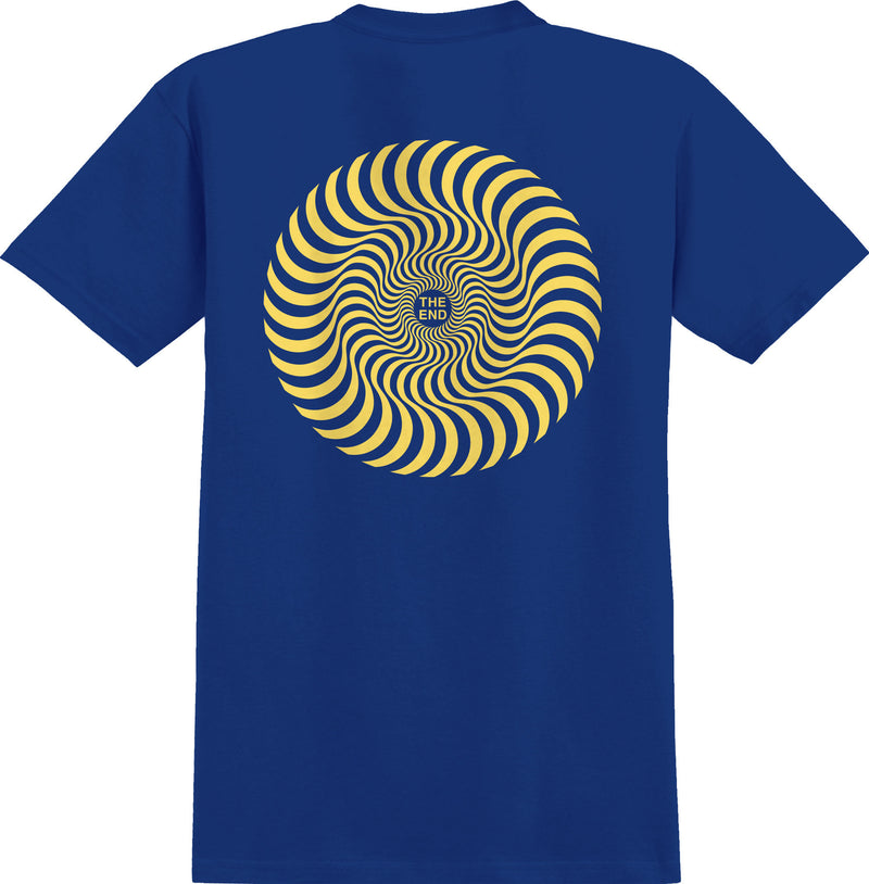 Royal Blue/Yellow Classic Swirl Boys Youth Spitfire Wheels T-Shirt Back