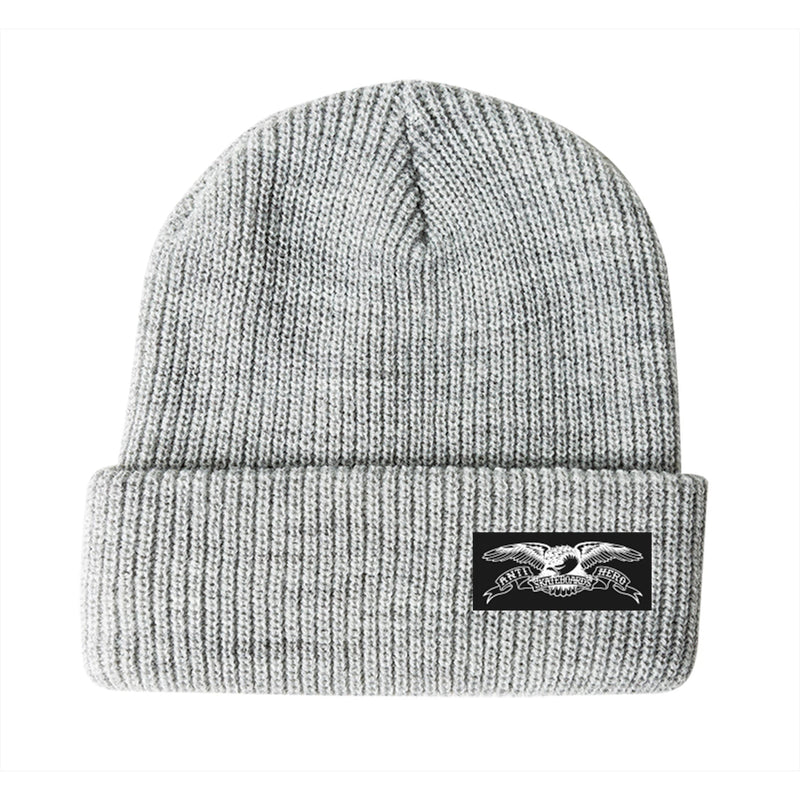 Heather Grey Stock Eagle Label AntiHero Skateboards Beanie