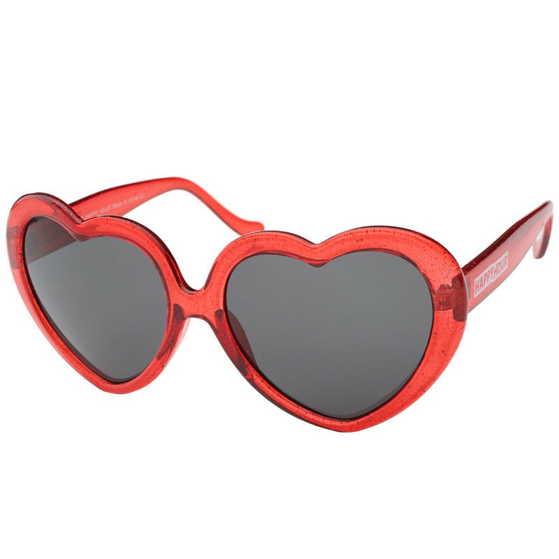 Happy Hour Heart Ons Shades - Red Glitter