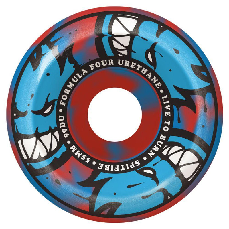 Blue Red Swirl Spitfire Conical Full Wheels