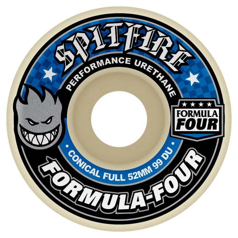 Spitfire Formula Four 99D White/Blue Conical Full Skateboard Wheels