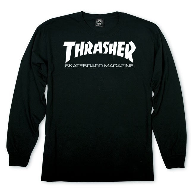 Thrasher Skate Mag Logo Long Sleeve Tee - Black