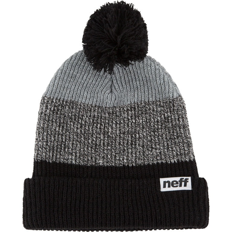 Neff Snappy Pom Beanie - Black/Black-White/Heather Grey
