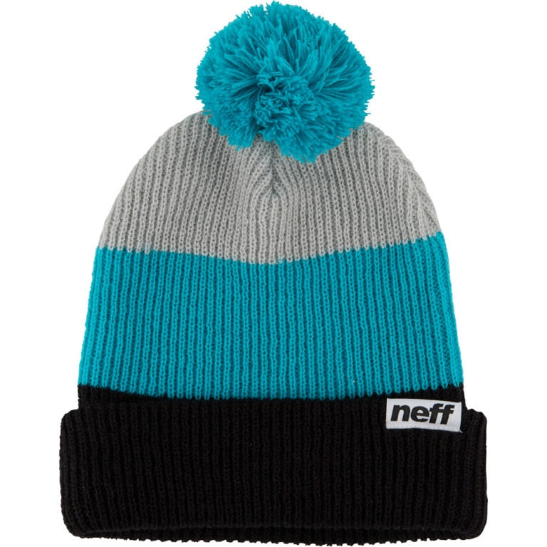 Neff Snappy Pom Beanie - Black/Teal/Grey