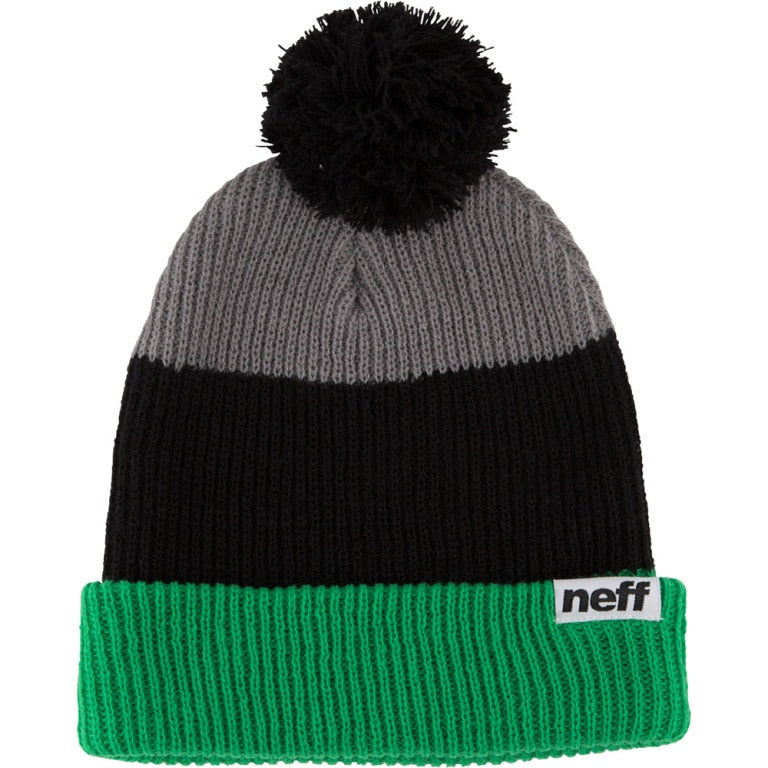 Neff Snappy Pom Beanie - Green/Black/Grey