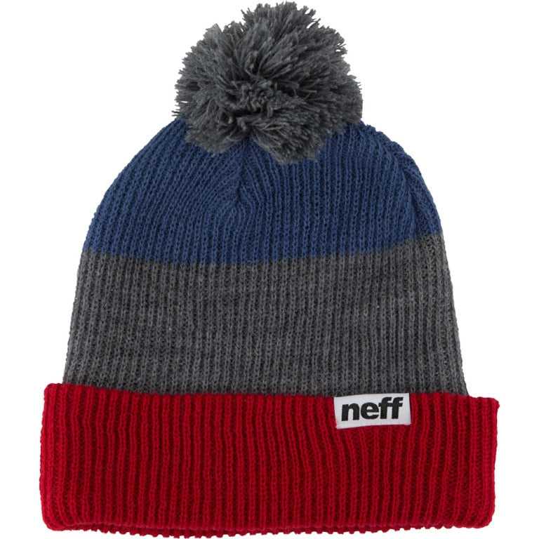 Neff Snappy Pom Beanie - Red/Grey/Navy