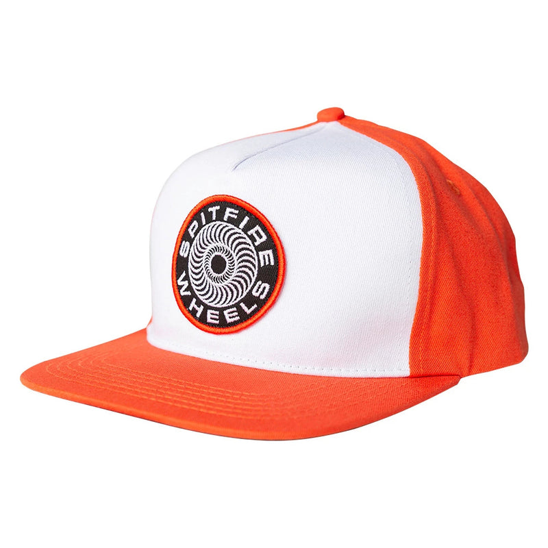 Orange/White Classic 87' Spitfire Wheels Swirl Snapback