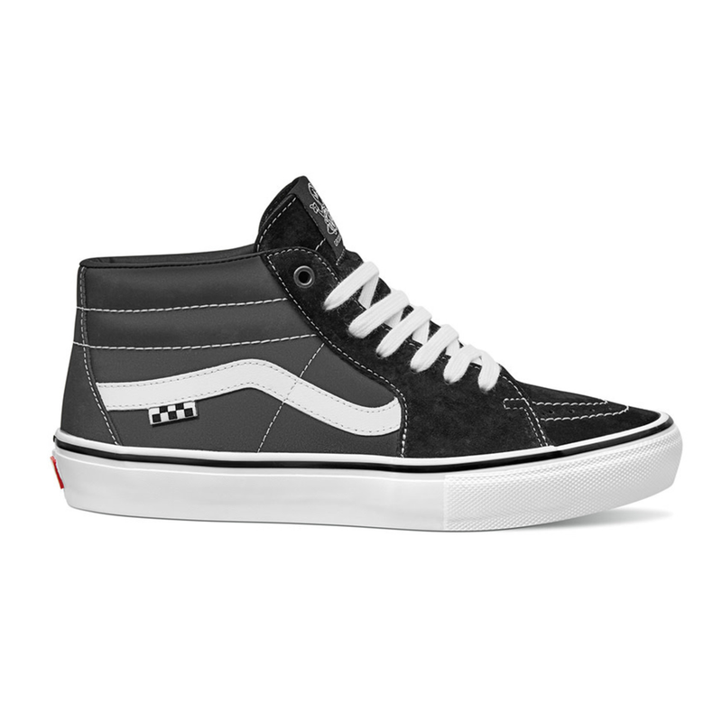 Black/White Emo Leather Jeff Grosso Mid Vans Skateboard Shoe