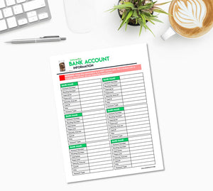 Bank Account Information Sheet