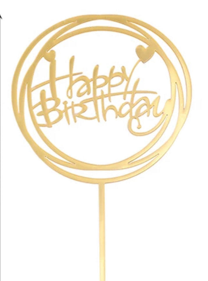 Gold Heart Round Happy Birthday Topper
