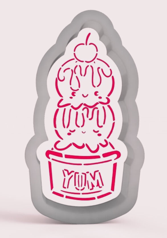 Yum Ice Cream Stencil