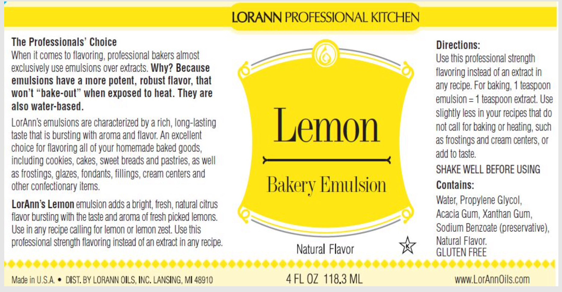 LorAnn 4oz Lemon Bakery Emulsion