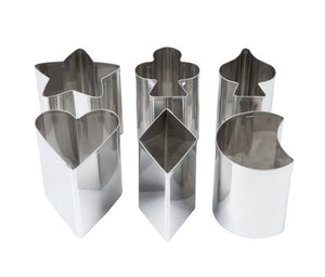 "Ateco 1428 6-Piece 3"" Tall Stainless Steel Fancy Shaped Cutter Set"