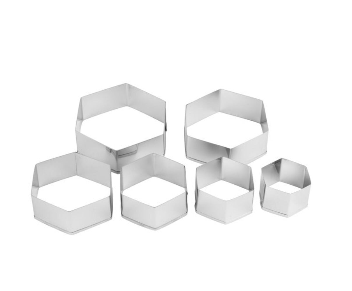 Ateco 5251 6-Piece Stainless Steel Hexagon Cutter Set