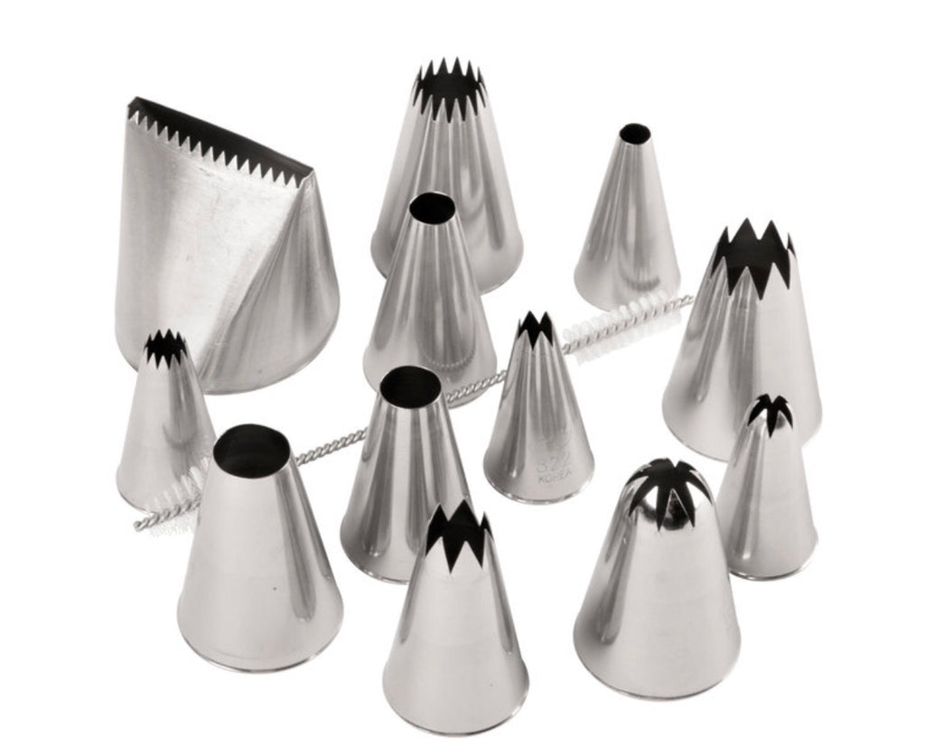 12-Piece Stainless Steel Large Piping Tip Decorating Set