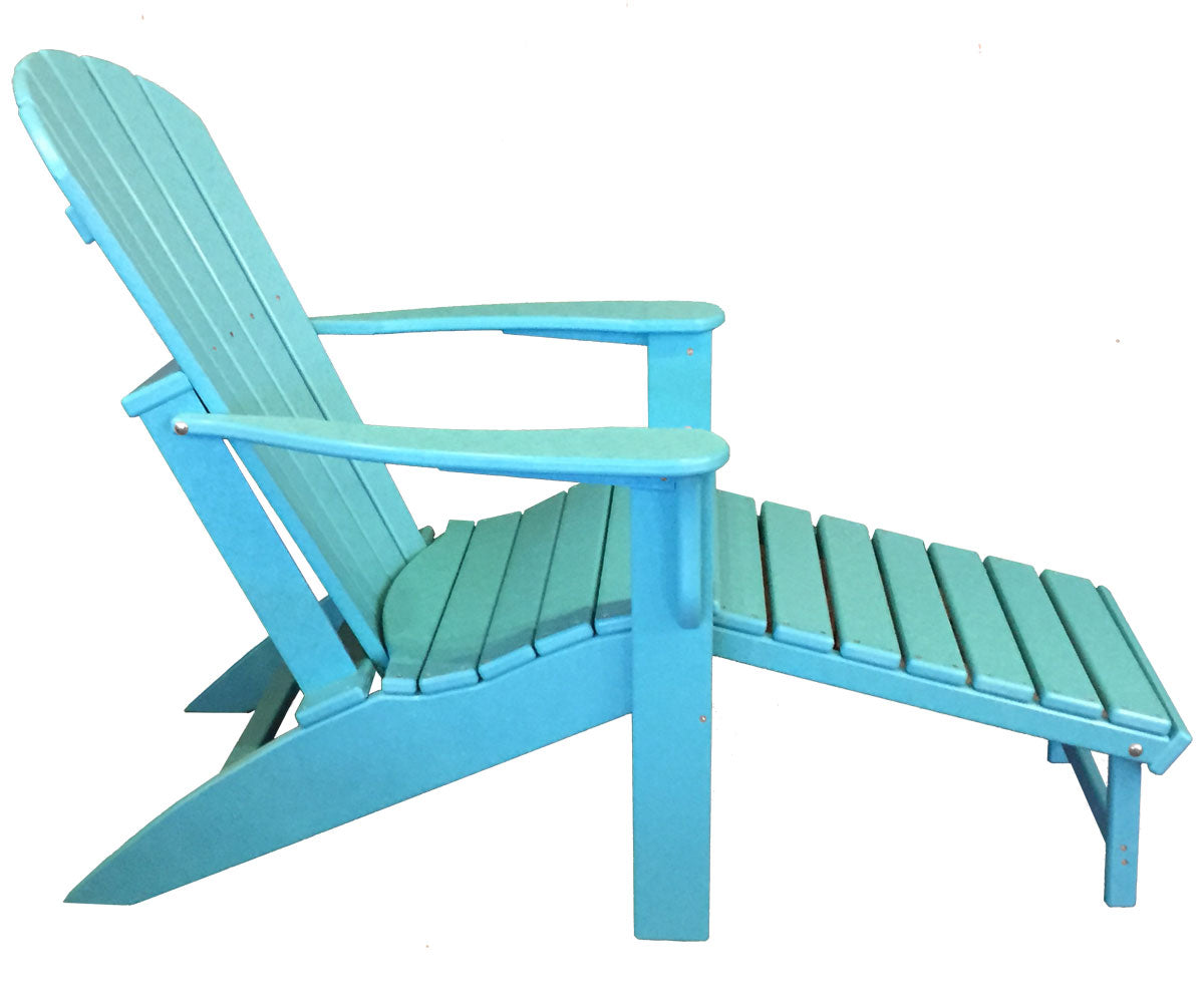 Picture of: Woodlike Adirondack Chair With Pull Out Ottoman Aruba Blue