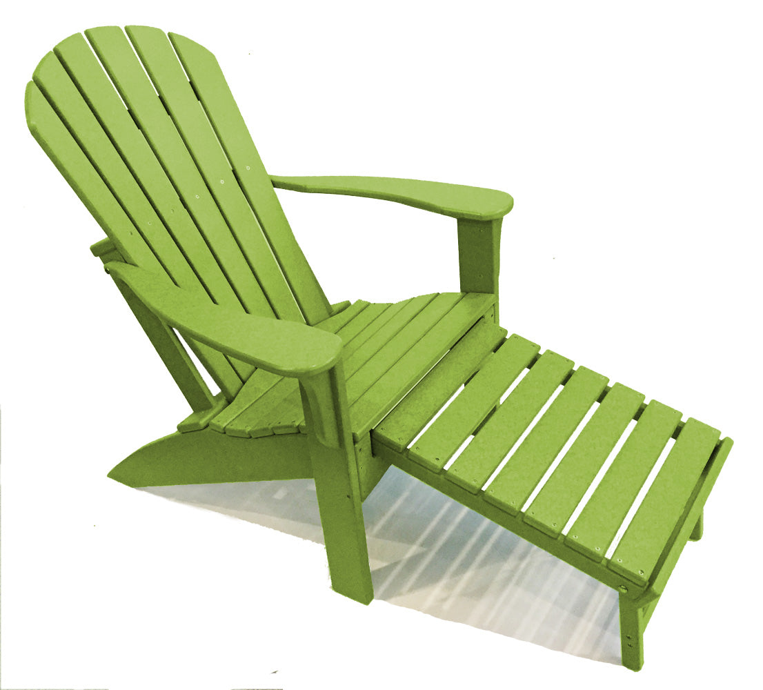 Picture of: Woodlike Adirondack Chair With Pull Out Ottoman Lime Green