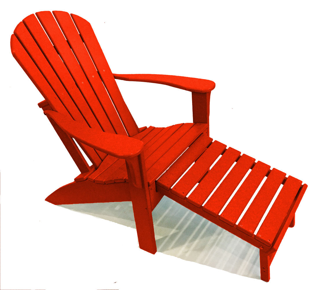 Picture of: Woodlike Adirondack Chair With Pull Out Ottoman Red
