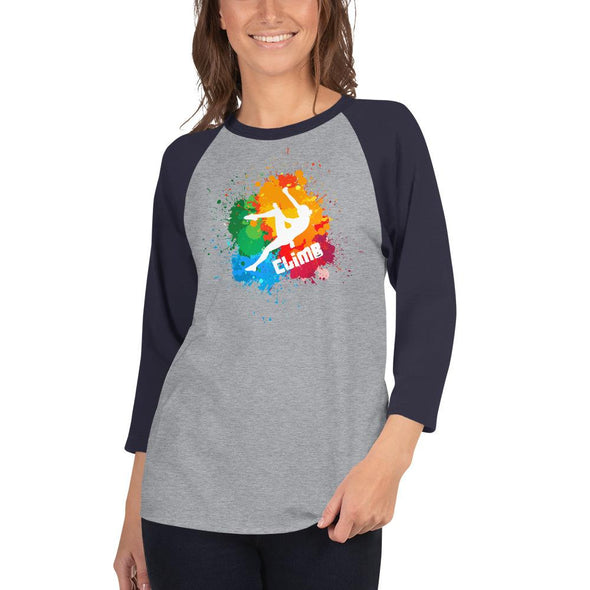 Rock Climbing (Paint Splatter) Women's 3/4 Sleeved T-Shirt