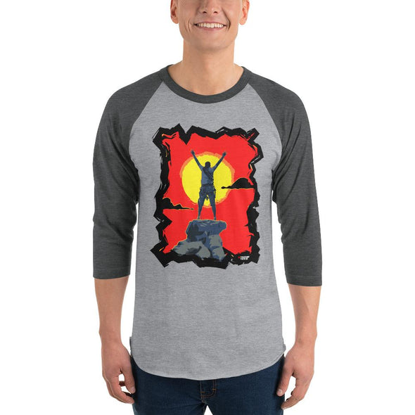 Rock Climbing (Top of the World) Men's 3/4 Sleeved T-Shirt