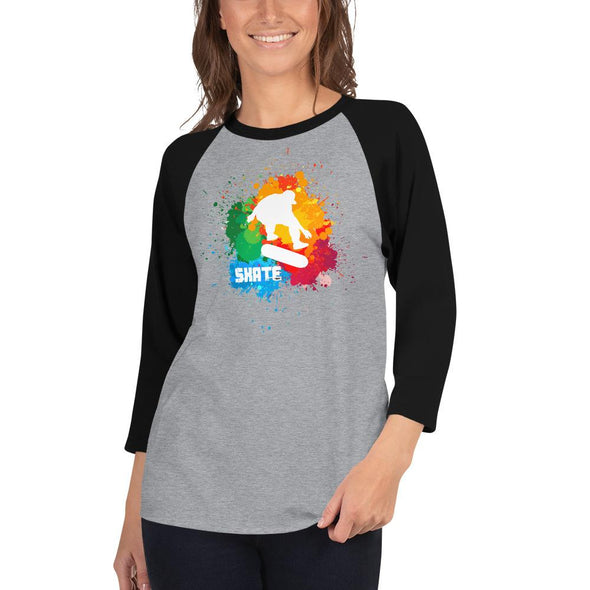 Skateboarding (Paint Splatter) Women's 3/4 Sleeved T-Shirt
