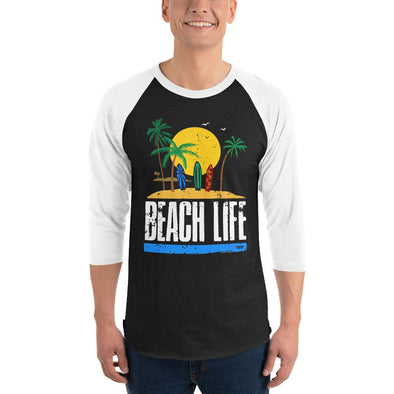 Surfing (Beach Life) Men's 3/4 Sleeved T-Shirt